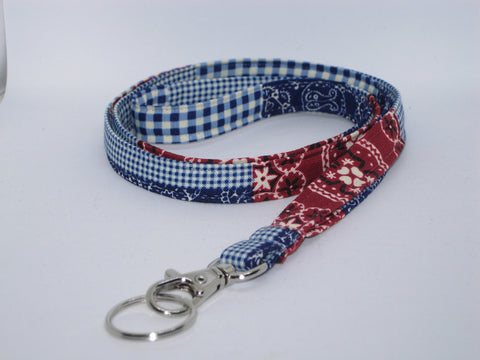 Country Western Lanyard / Red & Blue Patchwork / Bandana Key Chain, Key Fob, Cell Phone Wristlet - Bow Tie Expressions