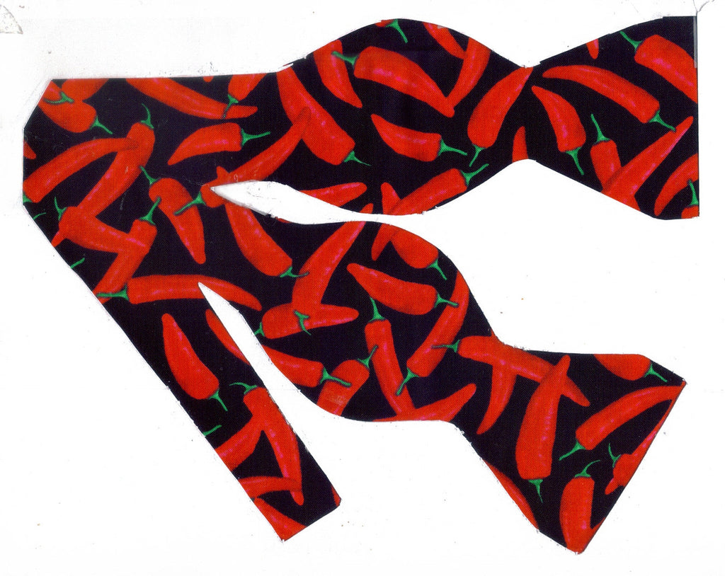 Red Pepper Bow tie / Spicy Hot Chili Peppers on Black / Self-tie & Pre-tied Bow tie - Bow Tie Expressions