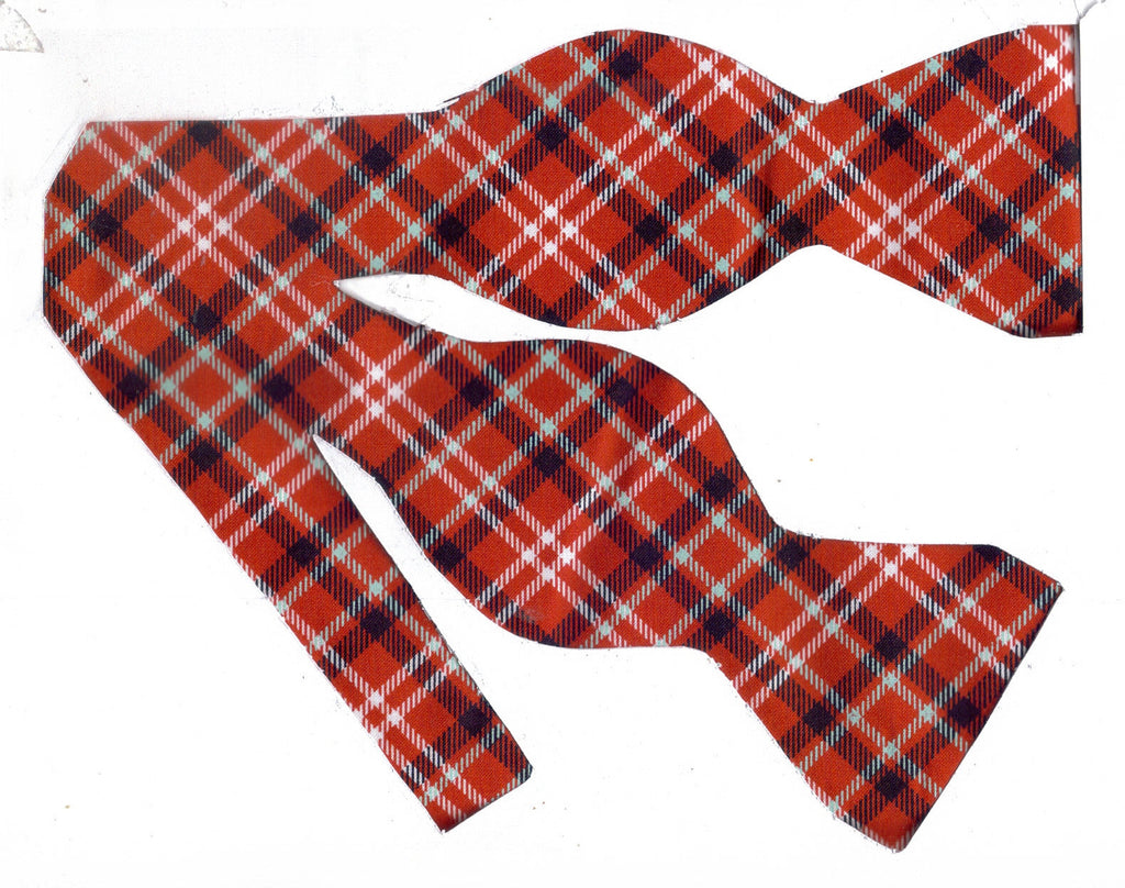APPLE ORCHARD PLAID BOW TIE - BLACK, WHITE & LIGHT BLUE PLAID ON APPLE RED - Bow Tie Expressions  - 1