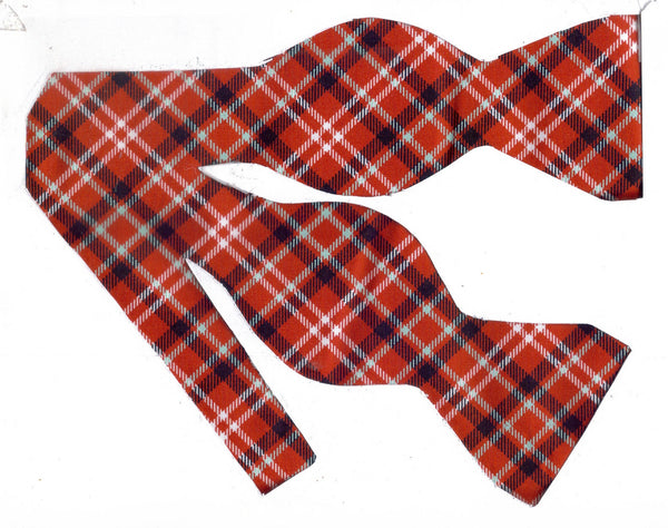 Red Plaid Bow tie / Black & White Diagonal Plaid on Apple Red / Self-tie & Pre-tied Bow tie - Bow Tie Expressions