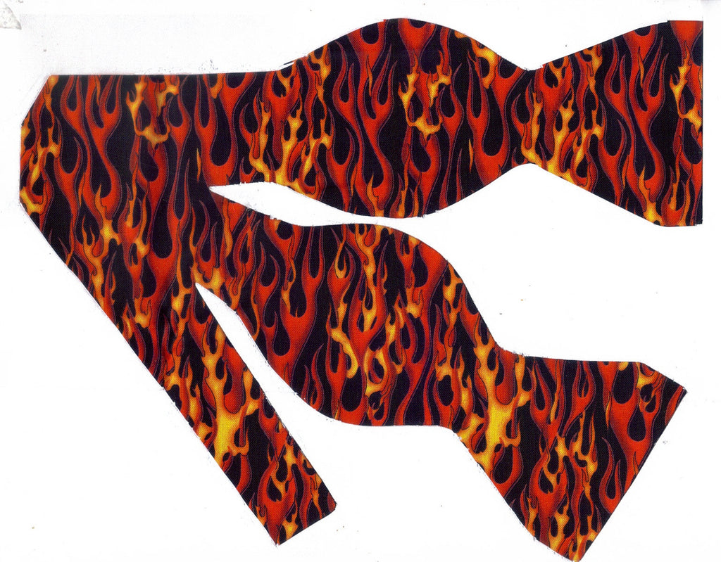 RED HOT! BOW TIE - RED, ORANGE & YELLOW FLAMES ON BLACK - Bow Tie Expressions