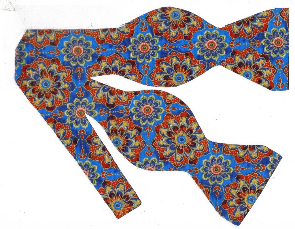 KALEIDOSCOPE FLOWERS BOW TIE - RED & BLUE FLOWERS WITH METALLIC GOLD TRIM - Bow Tie Expressions