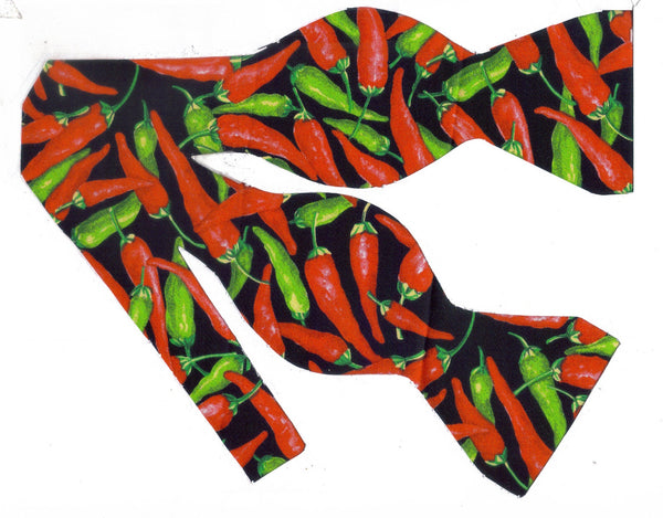 Chili Pepper Bow tie / Red & Green Spicy Hot Peppers on Black / Self-tie & Pre-tied Bow tie - Bow Tie Expressions