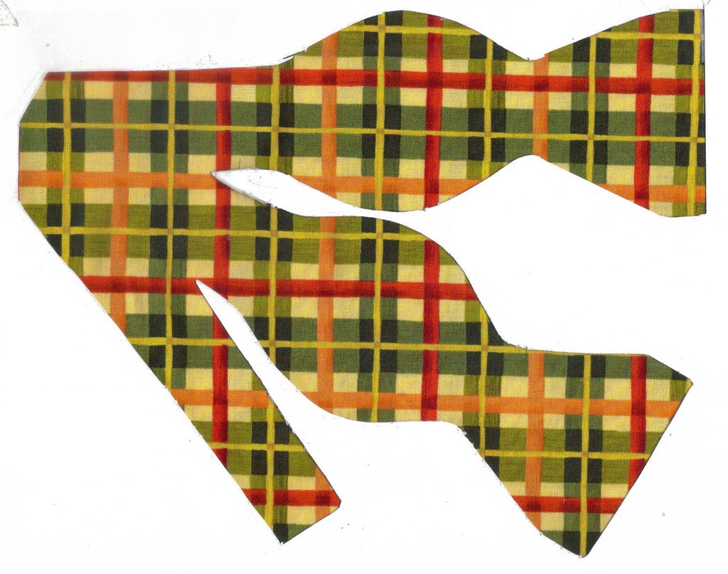 Autumn Bow tie / Red, Green, Orange Plaid / Fall Colors / Self-tie & Pre-tied Bow tie - Bow Tie Expressions
