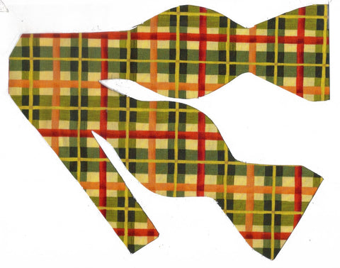 AUTUMN PLAID BOW TIE - RED, GREEN, GOLD & IVORY