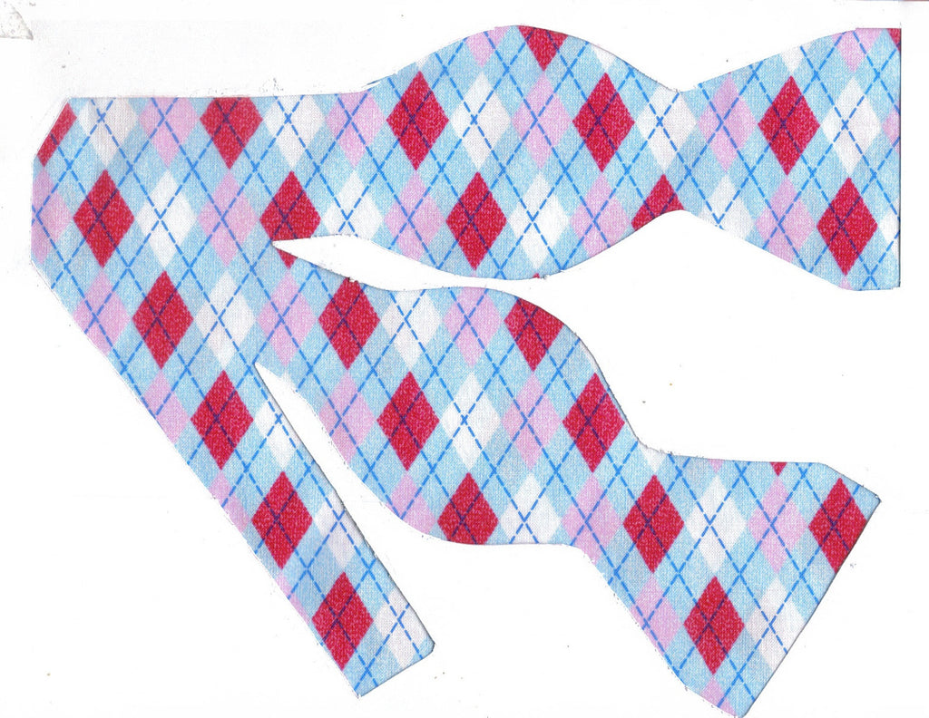 TEE TIME ARGYLE BOW TIE - HOT PINK, WHITE, PASTEL PINK & BLUE - Bow Tie Expressions