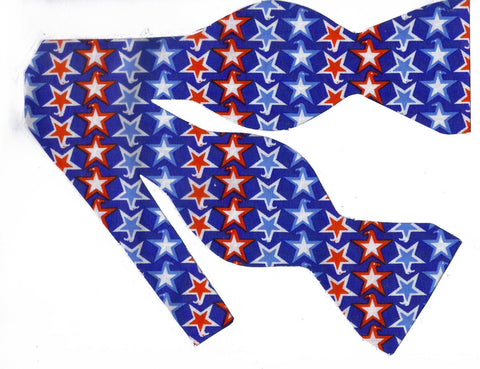 RED, WHITE & BLUE PATRIOTIC STARS ON BLUE BOW TIE - Bow Tie Expressions  - 1