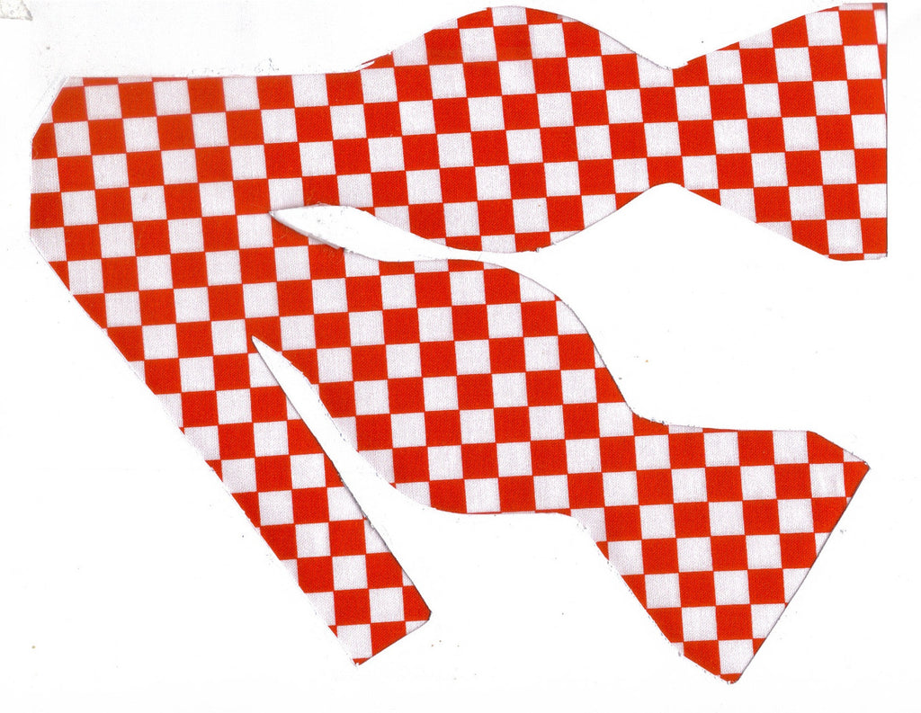 "RED & WHITE CHECKERBOARD BOW TIE - 3/8"" CHECKS - Bow Tie Expressions"