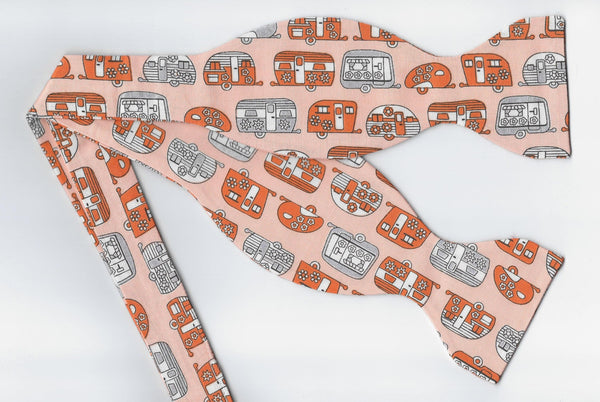 Happy Camper Bow tie / Retro Travel Campers on Orange / Self-tie & Pre-tied Bow tie