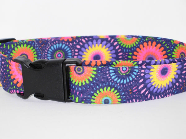 Retro Dog Collar / Abstract Daisy / Purple, Pink & Yellow / Matching Dog Bow tie - Bow Tie Expressions
