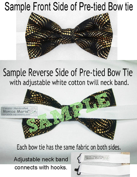 Gold & Black Bow tie / Trendy Metallic Dots & Curls / Pre-tied Bow tie - Bow Tie Expressions