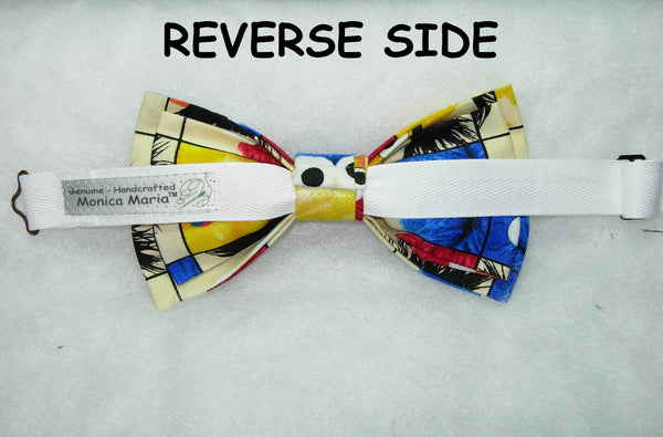 RED HOT! PRE-TIED BOW TIE - RED, ORANGE & YELLOW FLAMES ON BLACK - Bow Tie Expressions