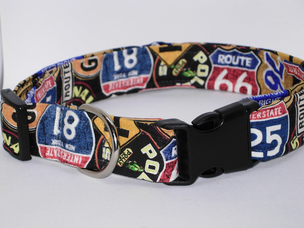 Route 66 Dog Collar / Retro Dog Collar / Travel Collars / Matching Dog Bow tie - Bow Tie Expressions