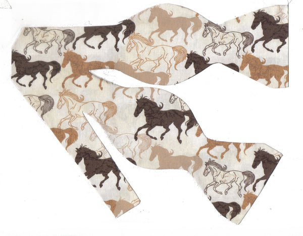 Wild Horse Bow tie / Taupe, Brown & Tan Horses on Beige / Self-tie & Pre-tied Bow tie - Bow Tie Expressions