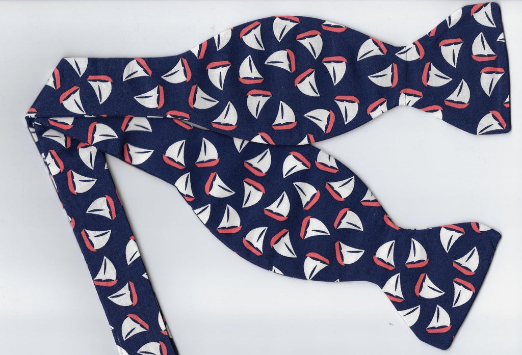 Nautical Bow tie / Mini Sailboats on Navy Blue / Cruise Ship / Self-tie & Pre-tied Bow tie - Bow Tie Expressions