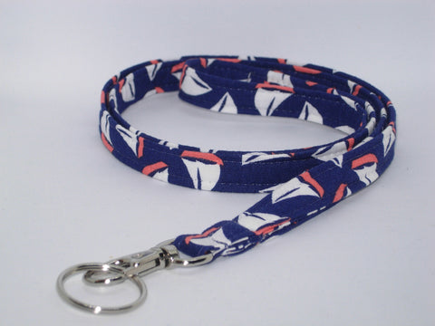 Captain's Lanyard / Sailboats on Navy Blue / Sailing Key Chain, Key Fob, Cell Phone Wristlet - Bow Tie Expressions