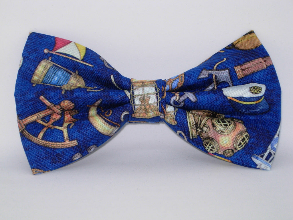 Nautical Bow tie / Sailing Equipment on Navy Blue / Anchors, Ropes, Wheels / Pre-tied Bow tie - Bow Tie Expressions