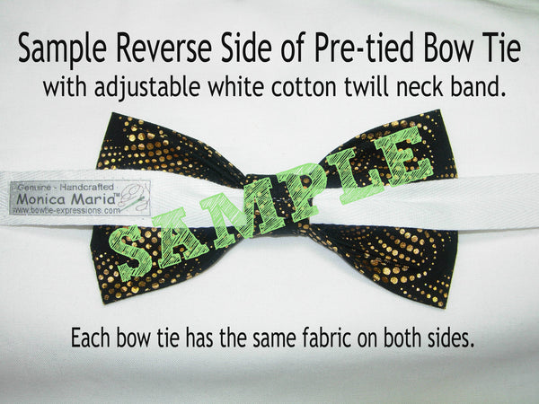 CHRISTMAS GIFTS PRE-TIED BOW TIE - COLORFUL CHRISTMAS GIFTS & SNOWFLAKES WITH METALLIC GOLD TRIM ON WHITE - Bow Tie Expressions  - 3