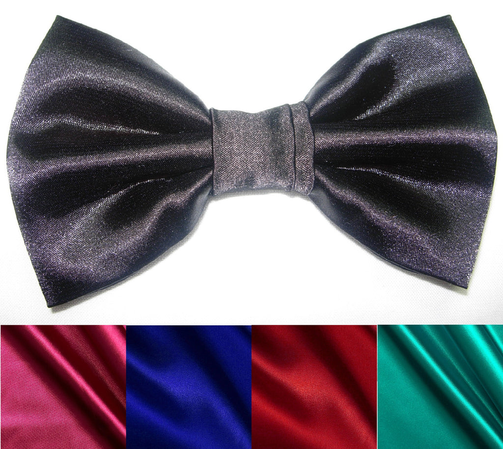 SHINY SATIN PRE-TIED BOW TIE - BLACK, FUCHSIA PINK, ROYAL BLUE, RED & JADE GREEN - Bow Tie Expressions  - 1