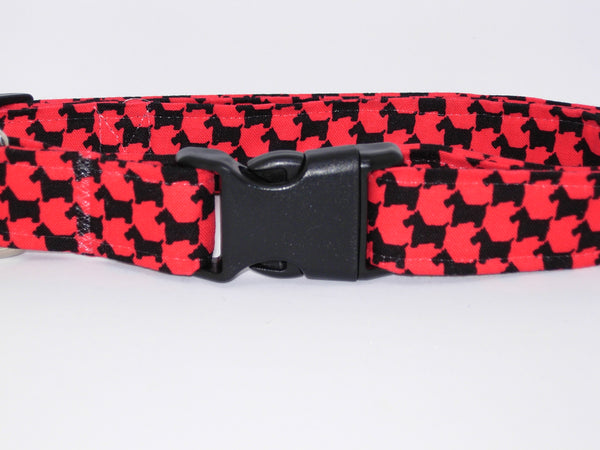 Scottie Dog Collar / Black & Red Pet Collar / Scottish Terrier / Matching Dog Bow tie - Bow Tie Expressions