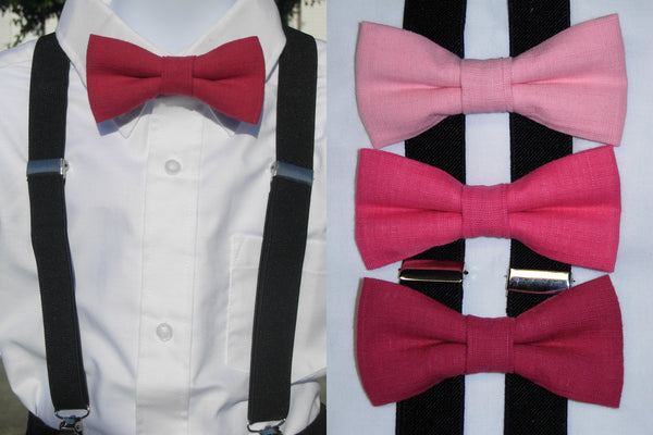 Linen Bow Tie & Suspender Set - Shades of Pink - Boys Black Suspenders - Ages 6mo. - 6yrs. - Bow Tie Expressions