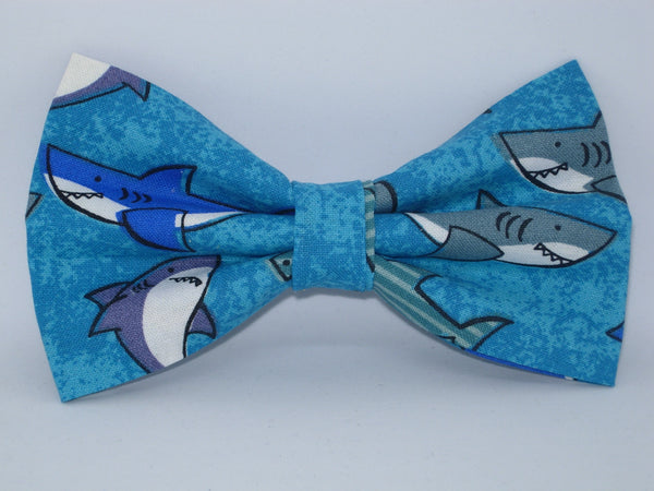 Shark Bow tie / Deep Sea Sharks on Blue / Pre-tied Bow tie