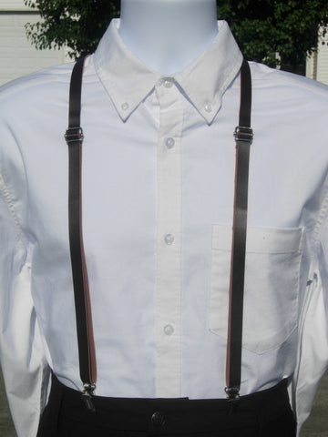 Skinny Leather Suspenders - Brown Faux Leather Suspenders - Ages 8-Adult - Bow Tie Expressions
