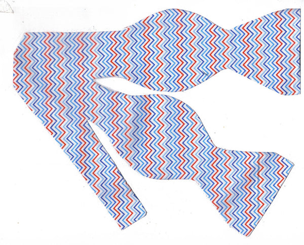 MINI CHEVRON STRIPES BOW TIE - RED, WHITE & SHADES OF BLUE - Bow Tie Expressions  - 1