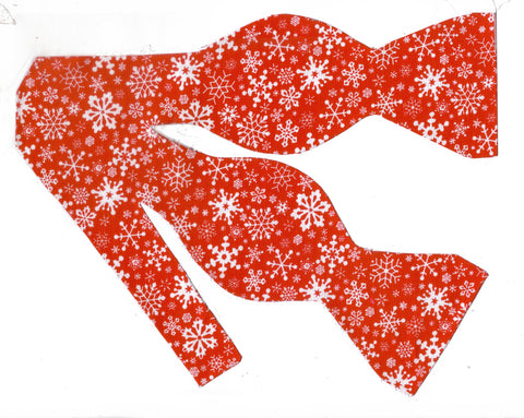 Delicate White Snowflakes on Red Bow Tie