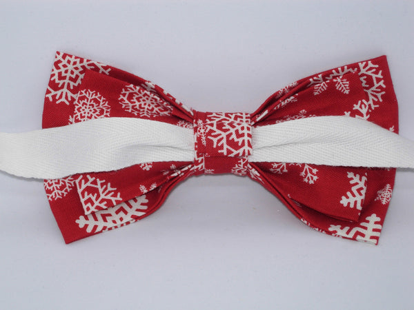 Christmas Bow tie / White Snowflakes on Red / Self-tie & Pre-tied Bow tie - Bow Tie Expressions
