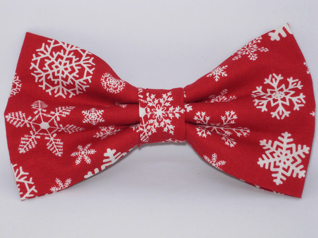 Christmas Bow tie / White Snowflakes on Red / Pre-tied Bow tie