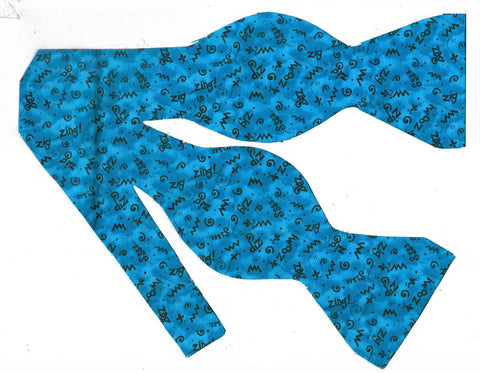 CRAZY Z'S! BOW TIE - ZIG ZAG ZIP ZOOM DOODLES ON TURQUOISE - Bow Tie Expressions  - 1