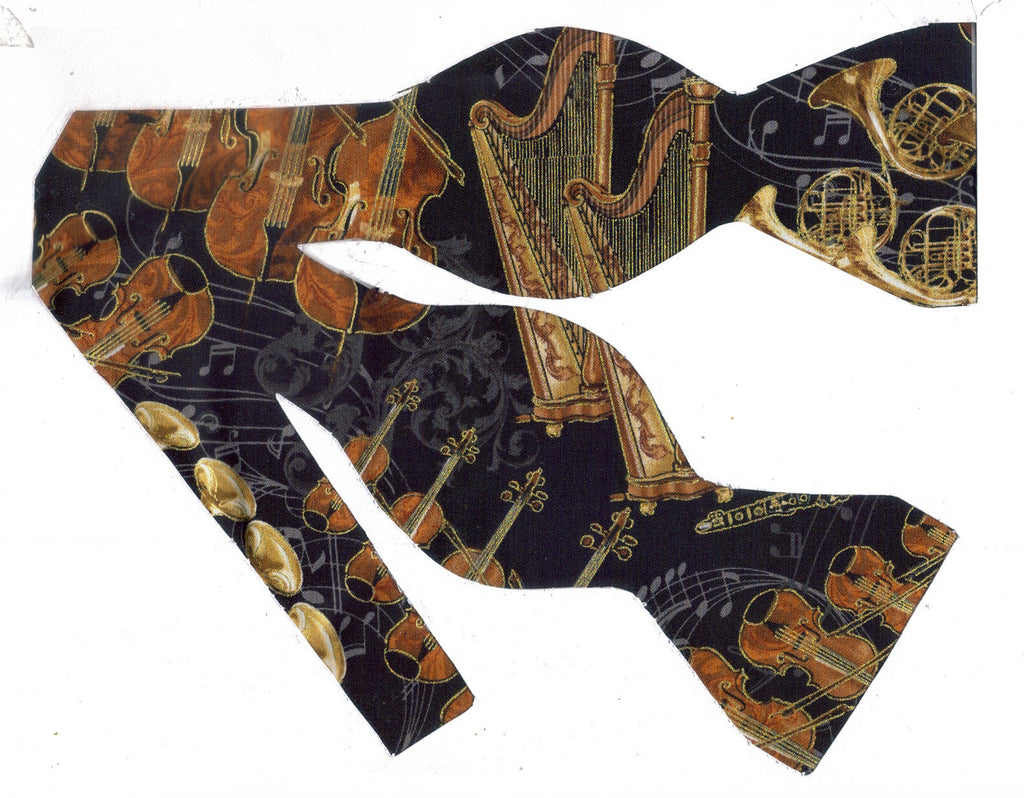 String Orchestra Bow Tie / French Horns, Trumpets, Harps, Violins on Black / Self-tie & Pre-tied Bow tie - Bow Tie Expressions