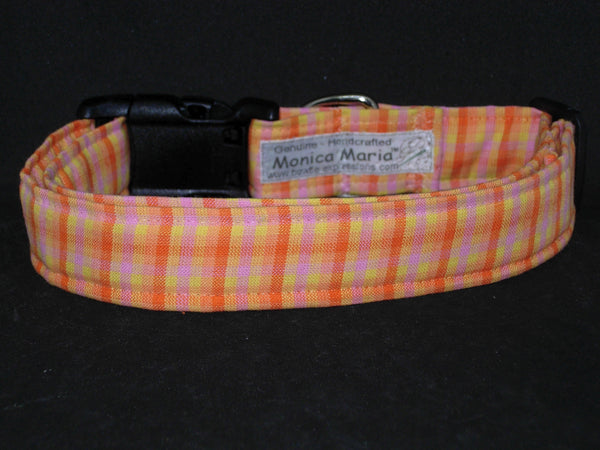 Sunshine Plaid Dog Collar / Orange, Yellow & Pink Plaid / Matching Dog Bow tie - Bow Tie Expressions