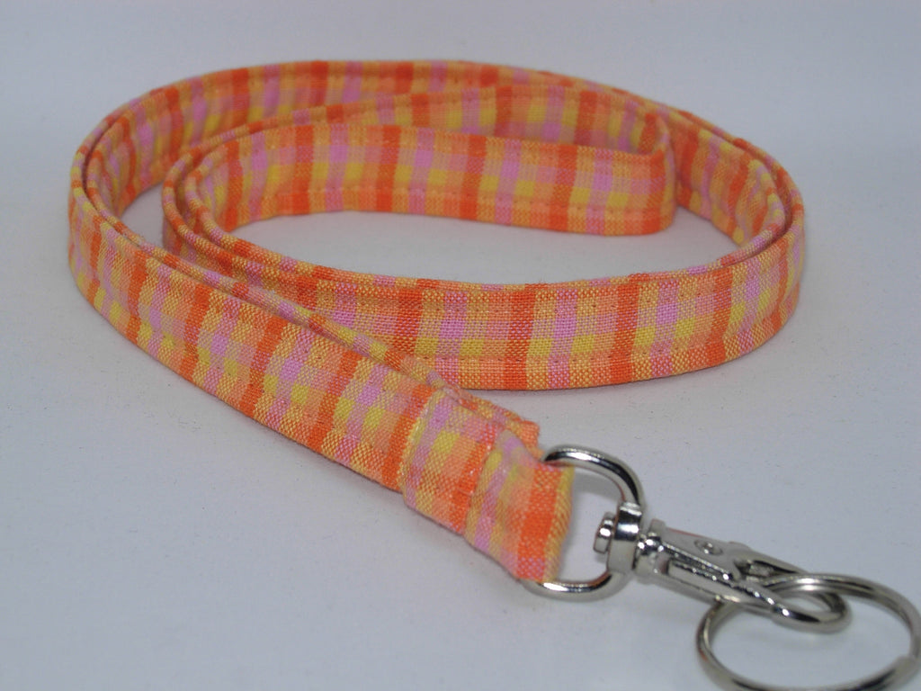 Sunshine Lanyard / Sunny Yellow & Orange Plaid / Summer Key Chain, Key Fob, Cell Phone Wristlet - Bow Tie Expressions