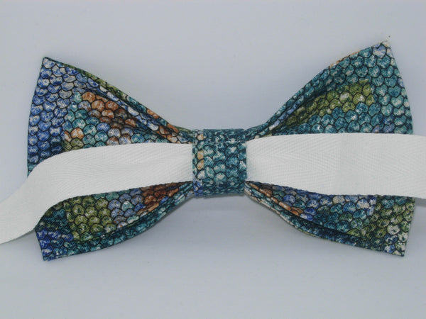 Snake Skin Bow tie / Blue, Green & Brown / Snake Scales Design / Pre-tied Bow tie - Bow Tie Expressions
