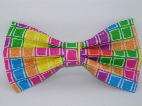 Gamer Dog Collar / Colorful Tetris Tiles / Arcade Video Game / Matching Dog Bow tie - Bow Tie Expressions