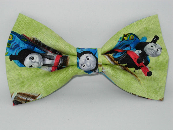 Thomas Train Bow tie / Thomas the train on Light Green / Self-tie & Pre-tied Bow tie - Bow Tie Expressions