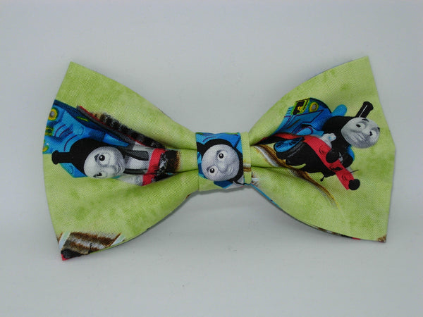 Thomas Train Bow tie / Thomas the train on Light Green / Pre-tied Bow tie - Bow Tie Expressions