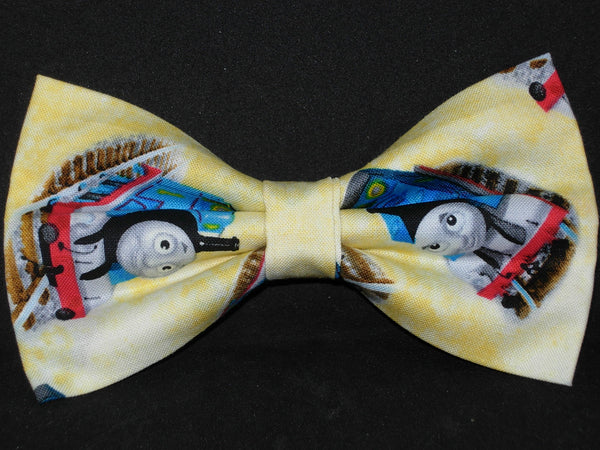 Thomas Train Bow tie / Thomas the Train on Light Yellow / Pre-tied Bow tie - Bow Tie Expressions