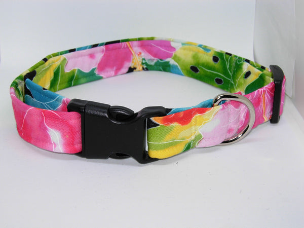 Hawaiian Dog Collar / Pink Hibiscus Flowers / Tropical Pet Collar / Matching Dog Bow tie - Bow Tie Expressions