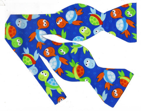 COLORFUL BABY SEA TURTLES TOSSED ON ROYAL BLUE BOW TIE - ORANGE, GREEN & BLUE - Bow Tie Expressions  - 1