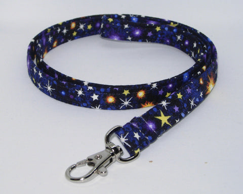 Galaxy Lanyard / Twinkling Stars on Midnight Blue / Outer Space Key Chain, Key Fob, Cell Phone Wristlet - Bow Tie Expressions