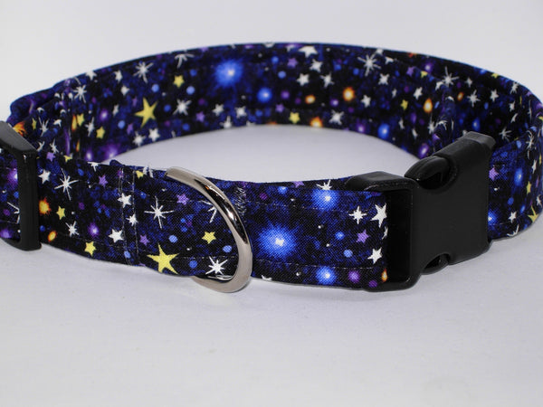 Galaxy Dog Collar / Twinkling Stars in Outer Space / Blue Dog Collar / Matching Dog Bow tie - Bow Tie Expressions