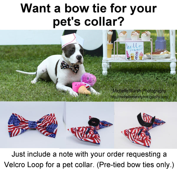 American Flag Bow Tie / USA Flags with Gold Trim / Self-tie & Pre-tied Bow tie