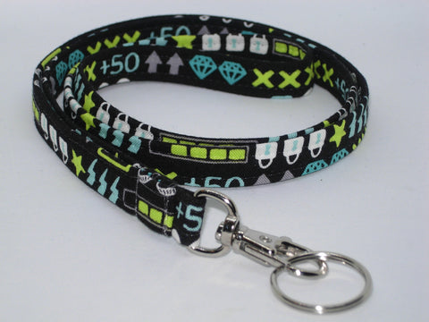 Gamer Lanyard / Video Game Icons on Black / Key Chain, Key Fob, Cell Phone Wristlet - Bow Tie Expressions