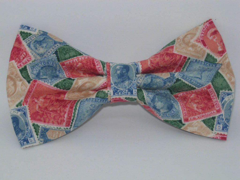 Stamp Collector Bow Tie / Red, Green, Blue, Vintage Postage Stamps / Pre-tied Bow tie - Bow Tie Expressions