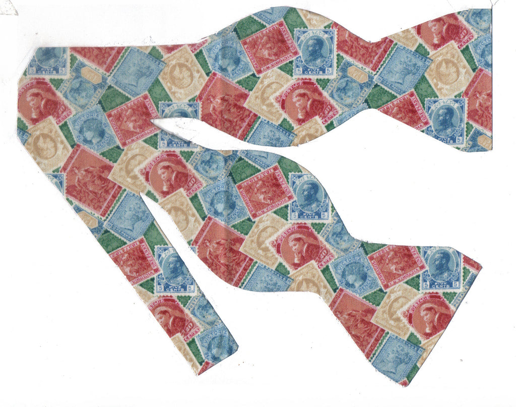 Stamp Collector Bow Tie / Vintage Postage Stamps / Self-tie & Pre-tied Bow tie - Bow Tie Expressions