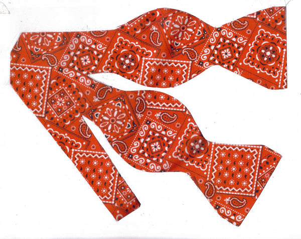 RED WESTERN BANDANA BOW TIE - Bow Tie Expressions  - 1