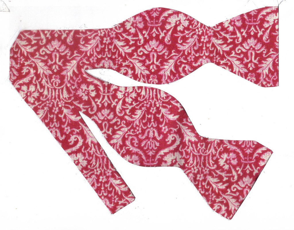 Cherry Red & White Damask Bow Tie - Petite White Damask Print on Cherry Red | Self-tie & Pre-tied - Bow Tie Expressions